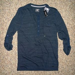 Men's EXPRESS Military-Style Pocket Henley Shirt